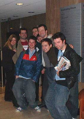 After the singing, the RELIEF - Cathy, me, Thomas, Tom, Pauly, James, Paul, and Paul