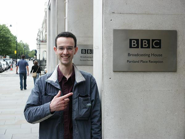 July 4th 2004 - Tom, excited, outside the BBC