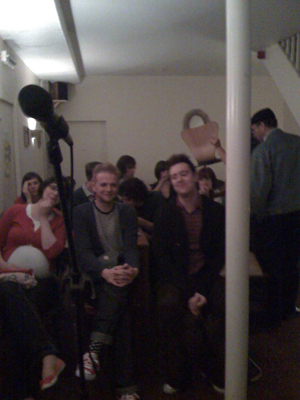 The audience for the 'Dinosaur Planet' at Lee Rosy's in Nottingham.